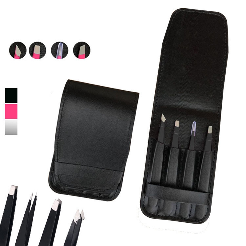 1pc Black Color Eyebrow Tweezer Hair Beauty Slanted Puller Stainless Steel Eye Brow Clips Makeup Tool Brand New