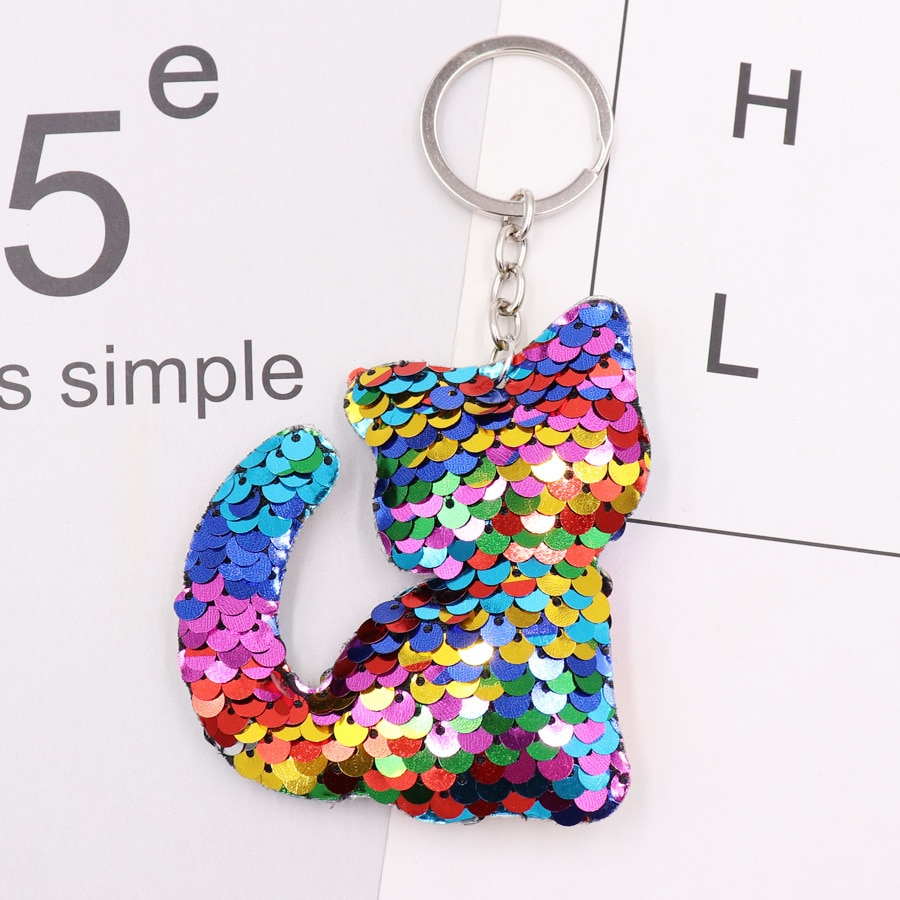 1PCS Cute Cat Keychain Glitter Pompon Sequins Key Ring Gifts Women Decorative Charms Car Bag Accessories Key Chain