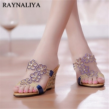 2018 New Summer Style Sexy Womens Slides Rhinestone Wedges High Heels Stiletto Flowers Slipper Shoes Party Shoes XMX-A0048 2017 high quality african style woman shoes and bag set summer rhinestone slipper shoes and bag set for christmas party bch 15