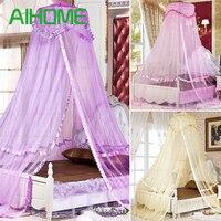 Lüks Prenses Yuvarlak Kubbe Yatak Net Gölgelik Çocuk Yatak Asılı Yoğun Yuvarlak Hoop Netleştirme Sivrisinek Net Yatak Odası Dekor (mor)