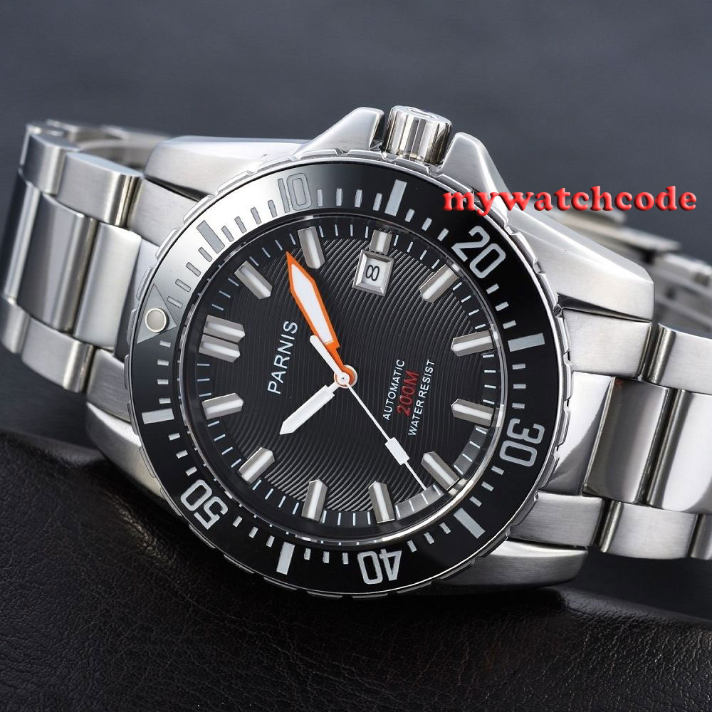 43mm Parnis white marke date window Sapphire glass 20atm automatic mens diving watch P473AU цена