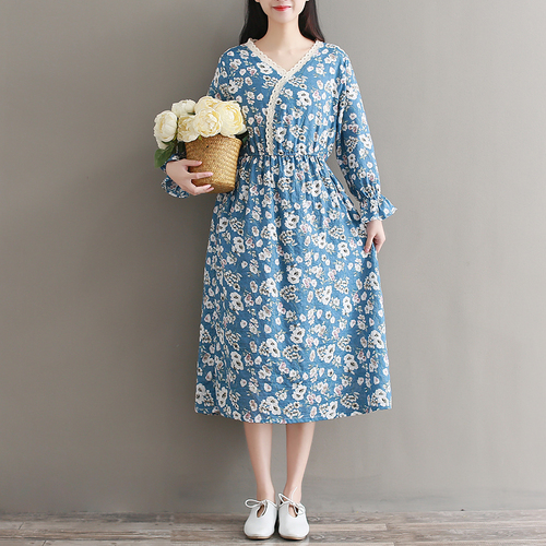 2018 New Fashion Prairie Style Spring Women Dress Temperament V Neck Full Sleeve High Waist Printing Cotton Long Dresses In From S Clothing