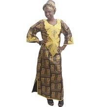 Md plus size africano dashiki vestido tradicional africano roupas para mulheres bordados bazin riche vestidos nigeriano cabeça gravata