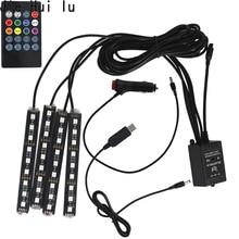 4 adet müzik kontrol cihazı araba dekoratif lamba usbli şerit Led 12V 5V RGB 5050 SMD su geçirmez iç atmosfer lamba uzaktan