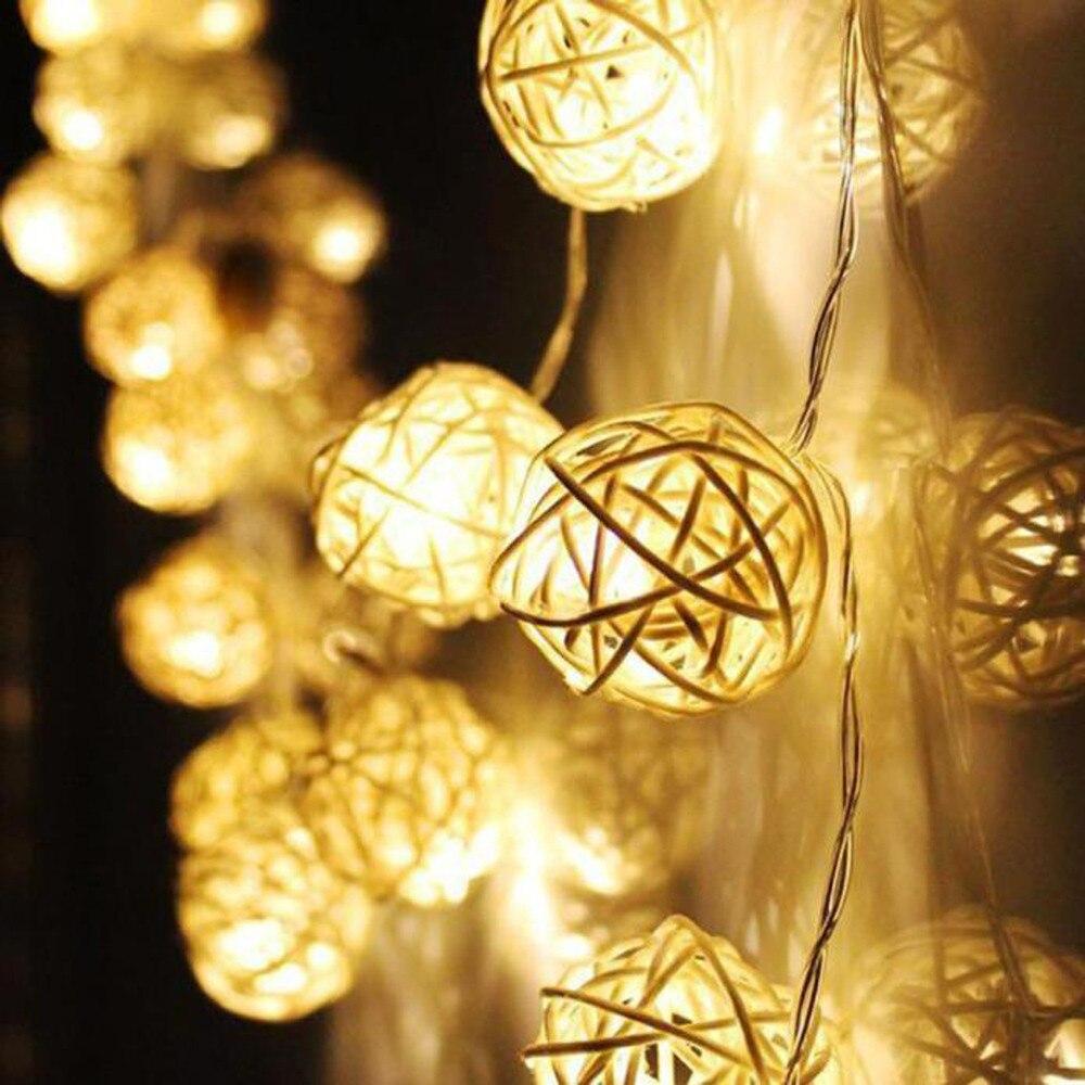 Lovely Szyoumy Free Shipping New 220v 4m 20 Led Wicker Rattan Balls Fairy Lights Warm White Eu Plug Holiday Lighting For Christmas Lights & Lighting