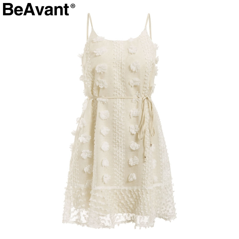 BeAvant Vintage flower embroidery short dress women Elegant spaghetti strap lace up sundress White ruffled summer ladies dresses 9