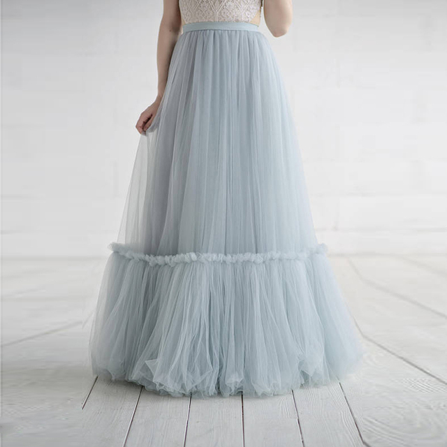 eecc2a03f5 2018 Light Sky Blue Long Tulle Skirts For Yong Lady Pleated Floor Length Tulle  Skirts Women Custom Made Female Saias New