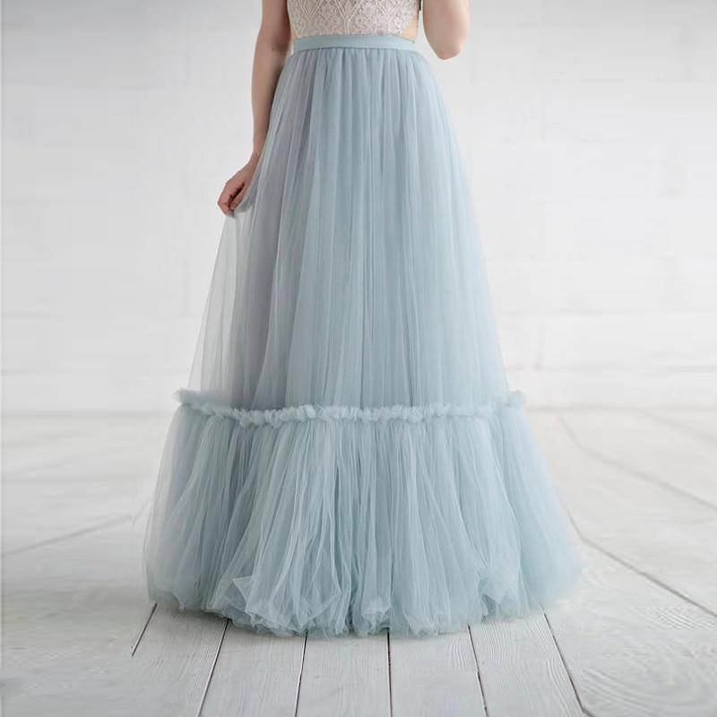 2018 Light Sky Blue Long Tulle Skirts For Yong Lady Pleated Floor Length Tulle Skirts Women Custom Made Female Saias New