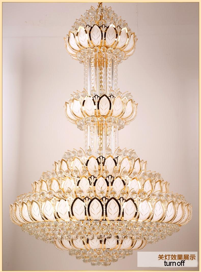Lotus Crystal Ljuskrona Ljusarmatur LED Guld Crystal Ljuskronor - Inomhusbelysning - Foto 6