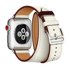 цена Newest Office Leather Strap For Apple Series Genuine Leather herm Wrist Band For Apple Watch 1 2 3 Single Tour Watchband 38-42mm онлайн в 2017 году