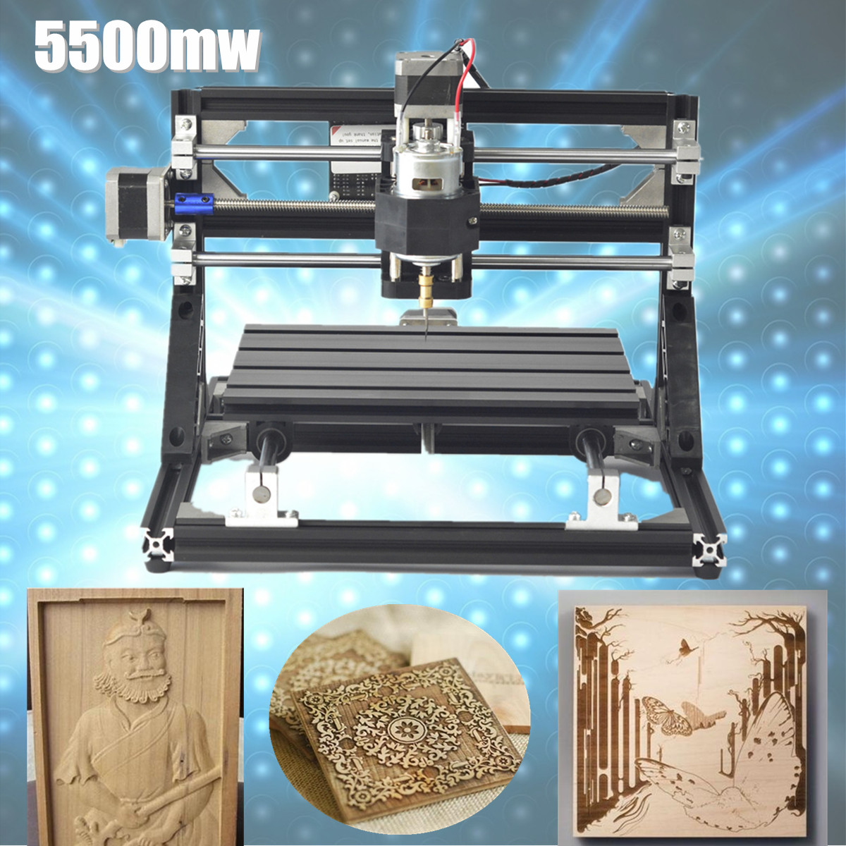 110V -240V 5500mW Laser Head CNC 3018 Engraving Machine Wood Router Carving Woodworking Machinery цена