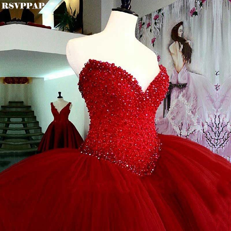 Stunning Ball Gown Arabian   Prom     Dresses   2018 Sweetheart Neckline Beaded Short Front Long Back Puffy Long Red   Prom     Dress