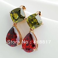 Holiday sale Mona Lisa zircon earring gold red color retail and wholesale free shipping