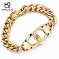 Kalen hombres dubai chapado en oro del acoplamiento de cadena pulseras de color plata del acero inoxidable 316l brillante esposas masculino cadena pulseras brazaletes