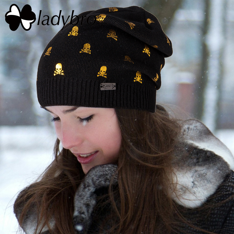 Ladybro Warm Wool Hat Female Autumn Winter Hat Women   Skullies     Beanies   Bonnet Femme Cap lady Print   Beanies   Skull Knitted Hat