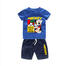 цены 2019 Summer Boys Clothing Sets Kids Fashion Mickey Minnie Boys Cotton T-shirt And Shorts Suit Baby Children Sports Clothes Set