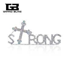 Newest Design Rhinestone STRONG Word Pin for Strong Man with Jesus Cross  Brooch Jewelry FREE SHIPPING