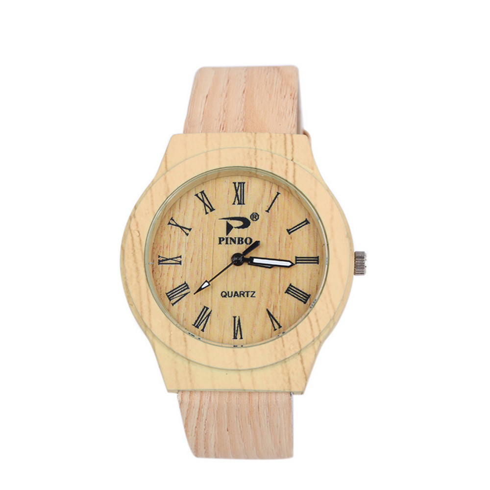 Watches Men Mirror Quartz Wooden Personality Women Fashion Dial Circular Grain Reloj