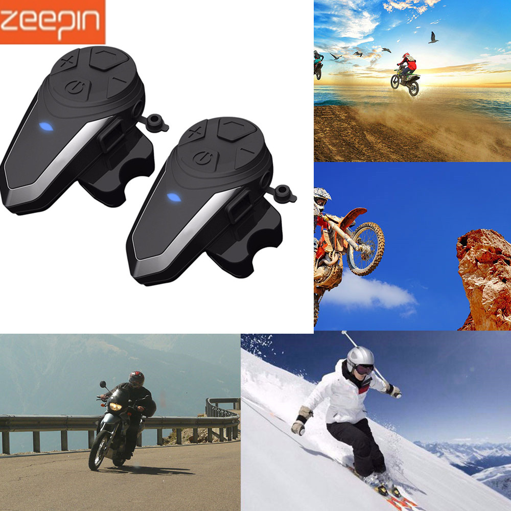 2 pièces BT-S3 1000 m Moto Interphone casque Bluetooth casque FM BT Interphone Moto Intercomunicador + micro pour Interphone de groupe