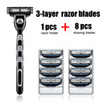 Conjunto conter 1 pcs de barbear safety razor handle & 8 pcs lâmina excelente qualidade simples embalagem novo