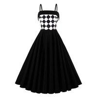 Brand Women Black White Plaid Dress Elegant Patchwork Hepburn Fashion Dress Lady Spaghetti Strap Vintage A