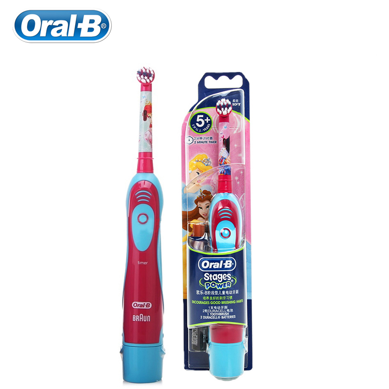 Oral B Children Electric Toothbrush with Repalceable Brush Head Waterproof Soft Bristle Gum Care AA Battery DB4510K 1 Set image