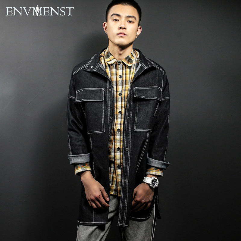 2017 Envmenst Brand clothing Jeans Coat For Men Big Pocket Designed Long Style Outwear High quality Men's Denim Jacket