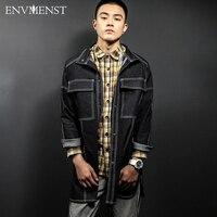 2017 Envmenst Brand Clothing Jeans Coat For Men Big Pocket Designed Long Style Outwear High Quality
