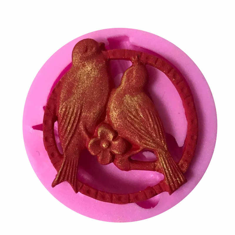 Птицы в любви форма силиконовая форма торта, кухня выпечки формы для шоколада Кондитерские конфеты глины, помадка украшения инструменты аксессуары