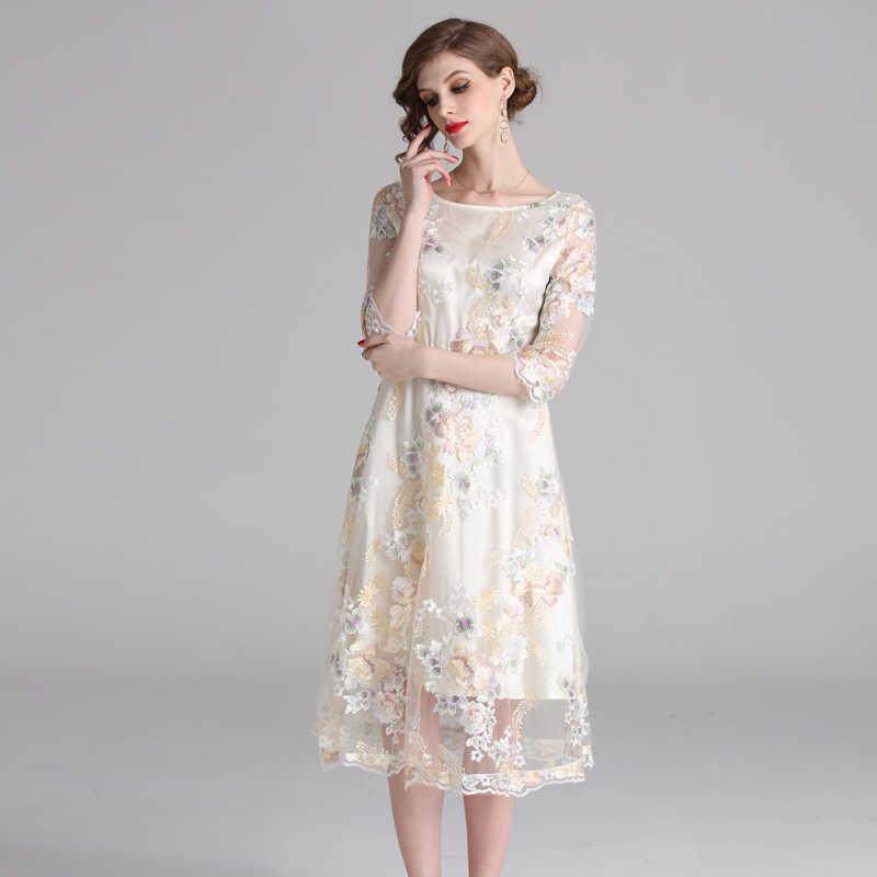 H Han Queen nouvelles femmes broderie maille robe fleur évider 3/4 manches Vestidos élégant travail décontracté Vintage fête Maxi robes