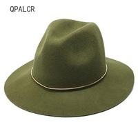 QPALCR Brand Winter Wool Fedoras Hats Women Men Felt Top Jazz Hat European cowboy Hat adjustable Green Caps Ladies Bowler Hats