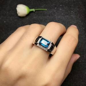Image 2 - MeiBaPJ Real Natural London Blue Topaz Gemstone Men Ring Real 925 Sterling Silver Ring Fine Wedding Jewelry