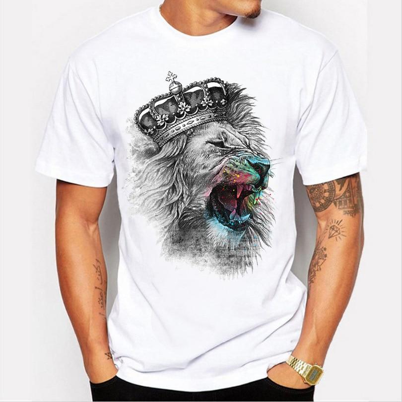 Uwback Men's Casual T Shirt 2018 Summer Lion King Printed Funny TShirts Short Sleeve 3D Animal Tops O-Neck White Cool Tees XA522
