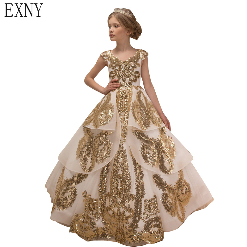 EXNY Luxury Gold Sequins Girls Pageant Gowns Ball Gown Cap Sleeve Floor length Flower Girls Dresses Party Dress