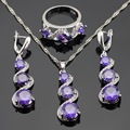 Purple Created Amethyst White CZ Silver Color Jewelry Sets For Women Necklace Pendant Long Earrings Rings Free Gift Box