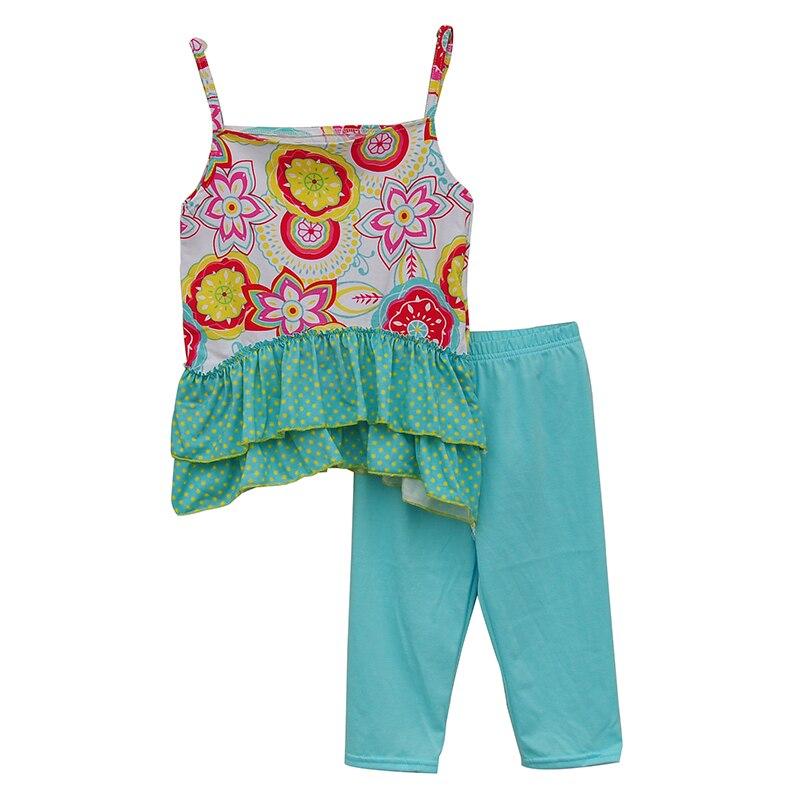 קיץ סגנון בנות דפוס פרחוני קלע למעלה עם שולי לפרוע בוטיק בגדי סט + חותלות כחולות S061