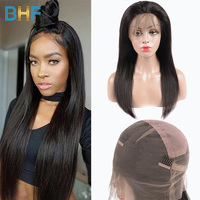 Pre Plucked Full Lace Wigs Human Hair With Baby Hair Brazilian Virgin Hair Straight Glueless Full Lace Wigs 180% Density BHF