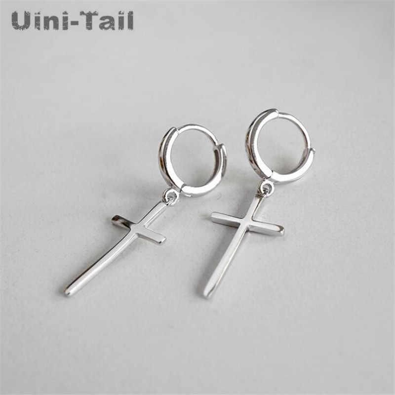 Uini-זנב חם חדש 925 סטרלינג כסף טמפרמנט אישיות טבעת צלב עגילי אופנה גאות זרימת תכשיטים GN666