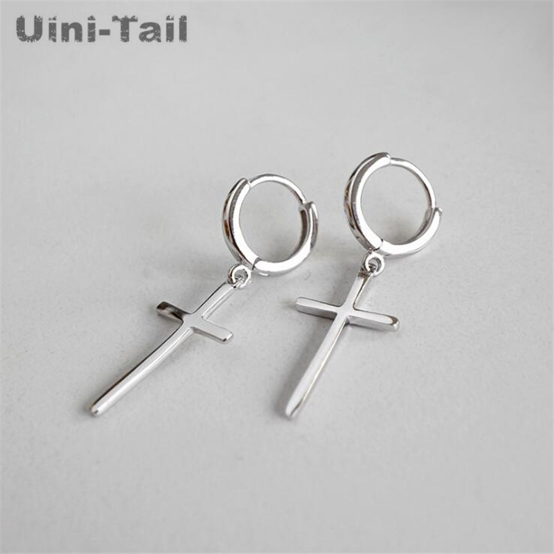Uini-Tail hot new 925 sterling silver temperament personality ring cross earrings fashion tide flow fashion jewelry GN666