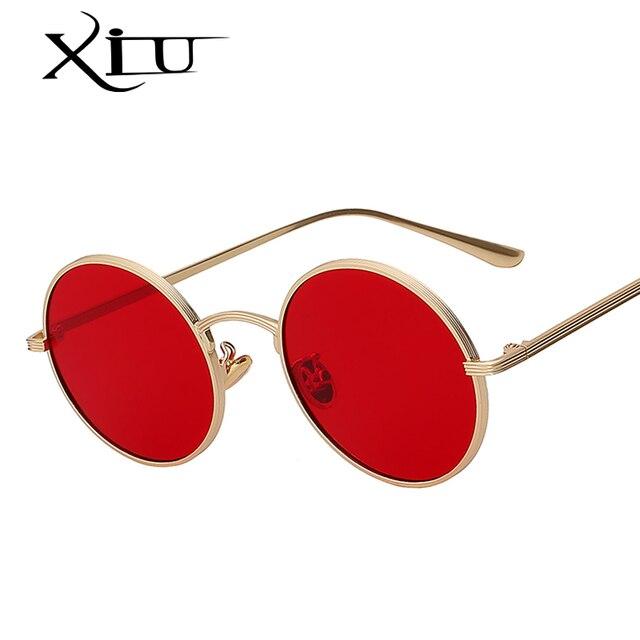 44e41ed72c XIU 2018 Nouvelle Marque Designer Ronde Femmes lunettes de Soleil Vintage  Hommes Lunettes De Soleil De