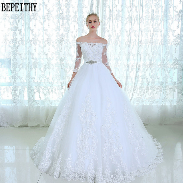 baa4a890b BEPEITHY Vestido دي noiva الدانتيل تول العروس الزفاف اللباس 2019 حزام ألف  خط الديكور طويل الأكمام
