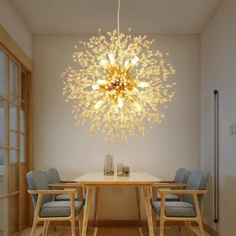 Golden Chandelier LED Hanging Lights Living Room Suspension Luminaires Crystal Lighting Iron Fixtures Bedroom Suspended Lamps