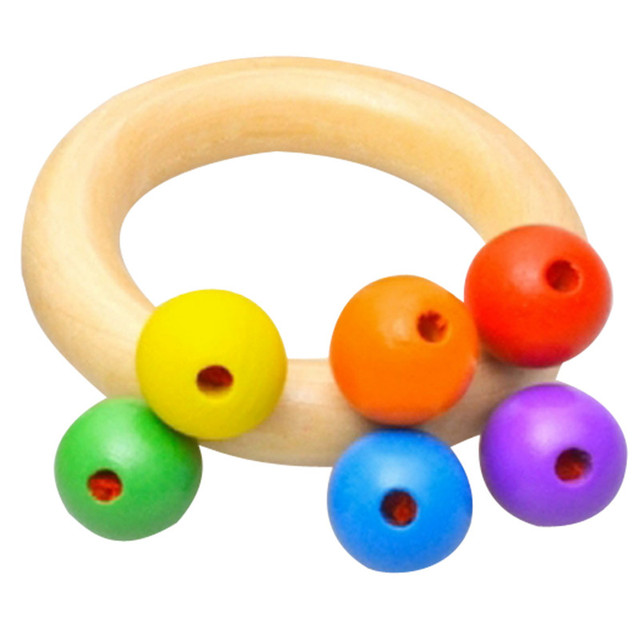 Baby Wooden Rattle Bell Toys Infant Handbell Rattles Kids Musical Instrument Educational Toy Funny Newborns Handle Bells Toys 1