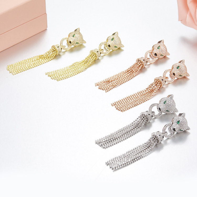 Luxury Brand S925 sterling silver Leopard Tassel Beads Earrings With Mirco Zircons Personality boucle d'oreille femme 2018