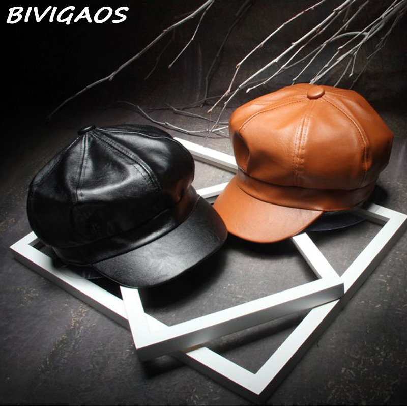 2016 Fall Winter New Fashion Women Solid Color PU Leather Caps Octagonal Cap Casual Vintage Hats Newsboy Cap For Women Casquette