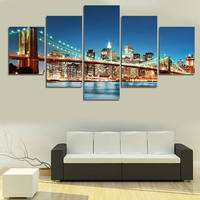 2016 New 5 Panel Beautiful City Night Large HD Picture Home Wall Decor Canvas Print Painting