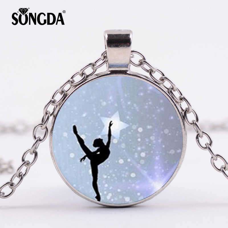 "SONGDA Classical Ballerina Girl Pendant Necklace ""I Love Dance"" Quote Statement Necklace Gymnastics Dance Teacher Students Gifts"