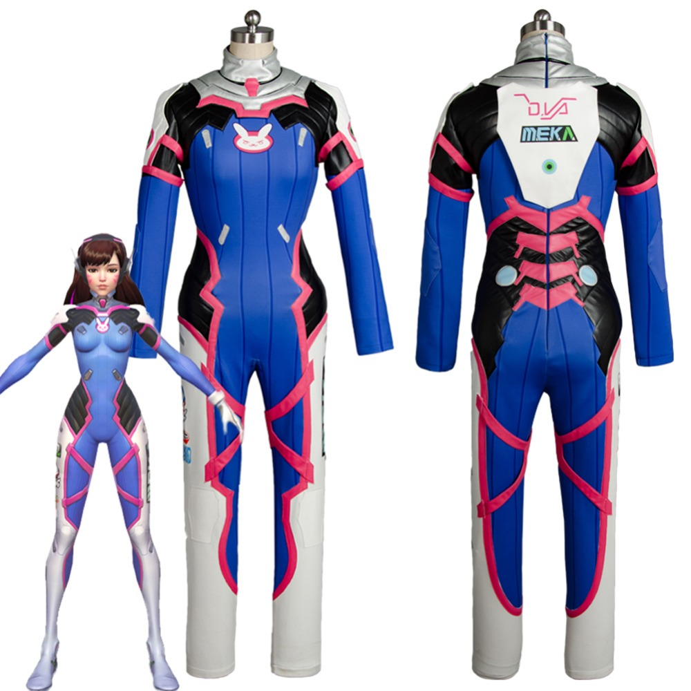 OW Cosplay Costume D.VA DVA Hana Song Jumpsuit Cosplay Costume For Women Halloween Carnival Costume