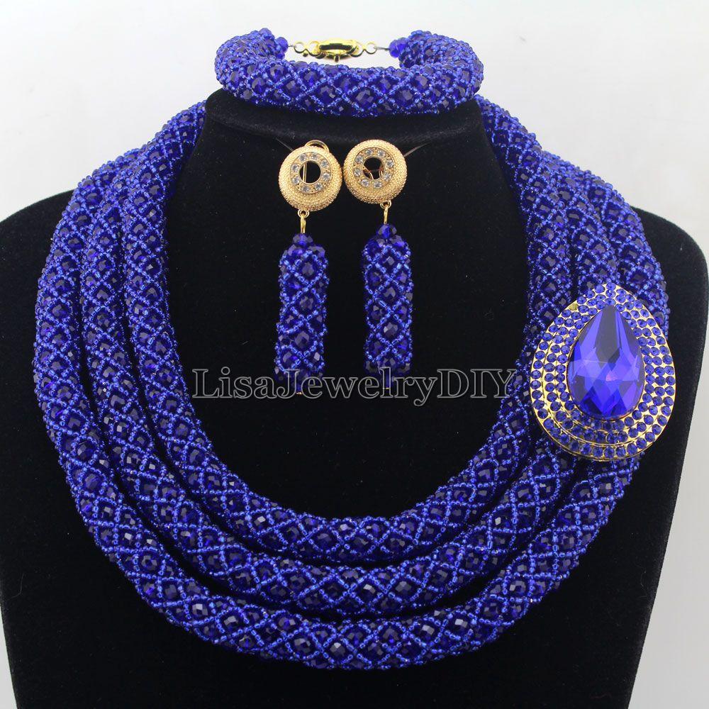 Stylish Royal Blue Nigerian Wedding African Beads Jewelry Set Handmade Indian Dubai Bridal Necklace Sets Free Shipping HD7379