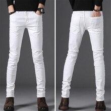 9b940dbdd68ccc Winter stil männer casual Hohe Qualität Slim Fit Hose elastische männer  Jeans Mode Klassische Denim Dünne Weiße Jeans herren hos.